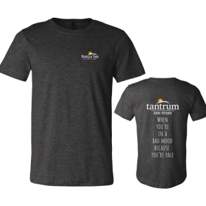 Dark charcoal gray Tan trum t-shirt